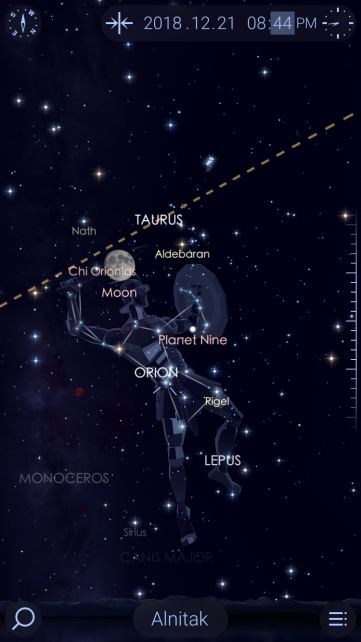 image of the moon on the constellation of Orion