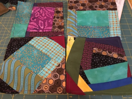 """squares of multiple textiles sewn together and then cut down to 6 1/2"""" squares"""