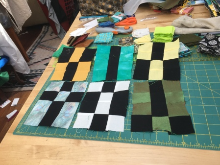 quilted 3x4 blocks for a geomancy quilt
