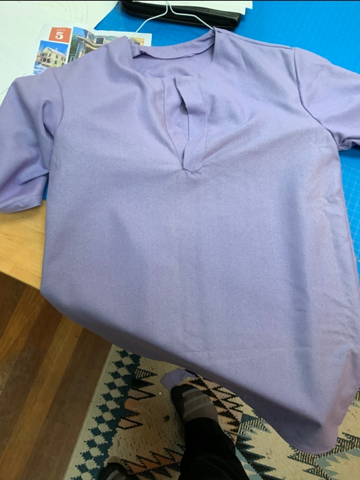shortsleeved shirt in a pale purple silk noile fabric